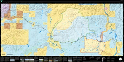 Travel Map of the 135 miles long Denali Highway in Alaska which connects Paxson on the Richardson Highway with Cantwell Junction on the Parks Highway. Published by the Bureau of Land Management (BLM).