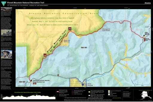 Visitor Map of Pinnell Mountain National Recreation Trail (NRT) in the Fairbanks District Office area in Alaska. Published by the Bureau of Land Management (BLM).