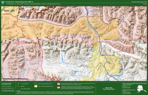 Federal Subsistence Hunt Map of Susintna River / Alaska Range East in the Game Management Unit 13 (GMU) in Alaska. Published by the Bureau of Land Management (BLM).