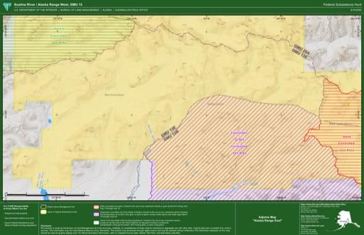 Federal Subsistence Hunt Map of Susintna River / Alaska Range West in the Game Management Unit 13 (GMU) in Alaska. Published by the Bureau of Land Management (BLM).
