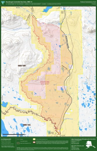 Federal Subsistence Hunt Map of the Sourdough Controlled Use Area in the Game Management Unit 13 (GMU) in Alaska. Published by the Bureau of Land Management (BLM).