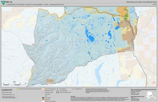 Map of State Moose and Caribou Hunt Restricted Areas in the Game Management Unit 13A (GMU) in Alaska. Published by the Bureau of Land Management (BLM).