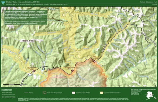 map of GMU 20E - Chicken- Walter Fork, Jack Wade Area