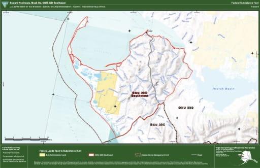 map of GMU 22D - Seward Peninsula, Musk Ox, GMU 22D Southwest