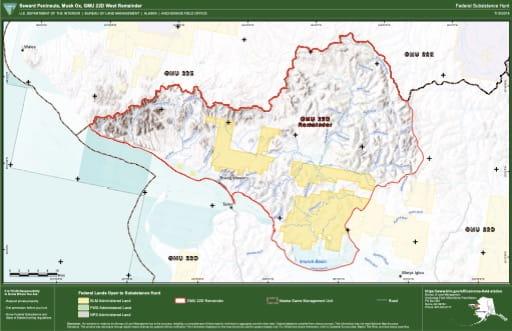 map of GMU 22D - Seward Peninsula, Musk Ox, GMU 22D West Remainder