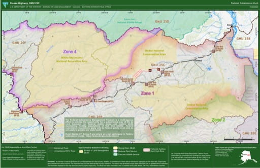 Map of Federal Subsistence Hunt in the Steese Highway, Game Management Unit 25C (GMU) area in Alaska. Published by the Bureau of Land Management (BLM).