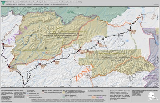 Map of Winter Caribou Hunter Access in Fortymile / Steese Highway, Game Management Unit 25C (GMU) area in Alaska. Published by the Bureau of Land Management (BLM).