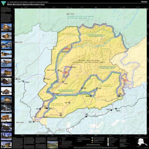 Map of White Mountains National Recreation Area (NRA) in Alaska. Published by the Bureau of Land Management (BLM).