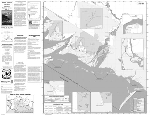 Map 3 of the Motor Vehicle Use Map (MVUM) of Copper River Delta in Chugach National Forest (NF) in Alaska. Published by the U.S. Forest Service (USFS).