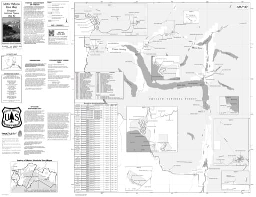 Map 2 of the Motor Vehicle Use Map (MVUM) of Eastern Kenai Peninsula in Chugach National Forest (NF) in Alaska. Published by the U.S. Forest Service (USFS).
