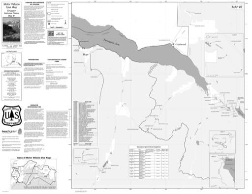 Map 1 of the Motor Vehicle Use Map (MVUM) of Prince William Sound in Chugach National Forest (NF) in Alaska. Published by the U.S. Forest Service (USFS).
