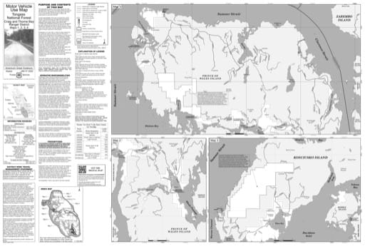 Map 1 of the Motor Vehicle Use Map (MVUM) of the Craig and Thorne Bay Ranger District (RD) of Tongass National Forest (NF) in Alaska. Published by the U.S. Forest Service (USFS).