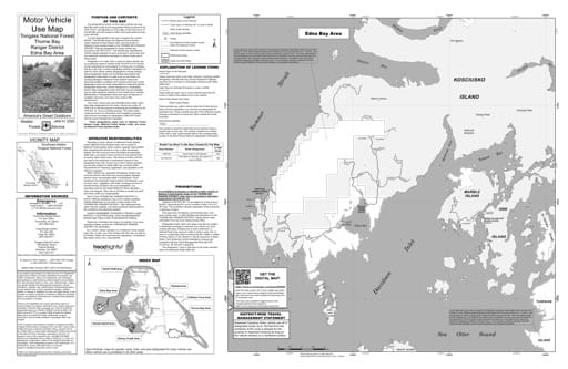 Motor Vehicle Use Map (MVUM) of the Edna Bay area in Tongass National Forest (NF) in Alaska. Published by the U.S. Forest Service (USFS).