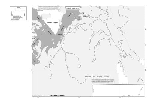 Motor Vehicle Use Map (MVUM) of the Staney Creek area in Tongass National Forest (NF) in Alaska. Published by the U.S. Forest Service (USFS).