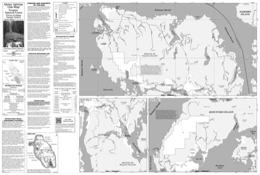 North Map 1 of the Motor Vehicle Use Map (MVUM) of Prince of Wales Ranger District (RD) of Tongass National Forest (NF) in Alaska. Published by the U.S. Forest Service (USFS).