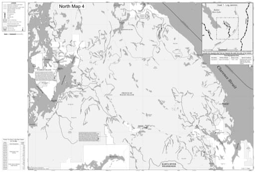 North Map 4 of the Motor Vehicle Use Map (MVUM) of Prince of Wales Ranger District (RD) of Tongass National Forest (NF) in Alaska. Published by the U.S. Forest Service (USFS).