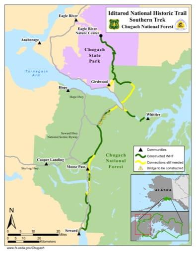 map of Iditarod NHT - Southern Trek