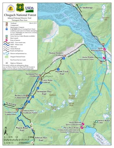map of Iditarod NHT - Turnagain Pass