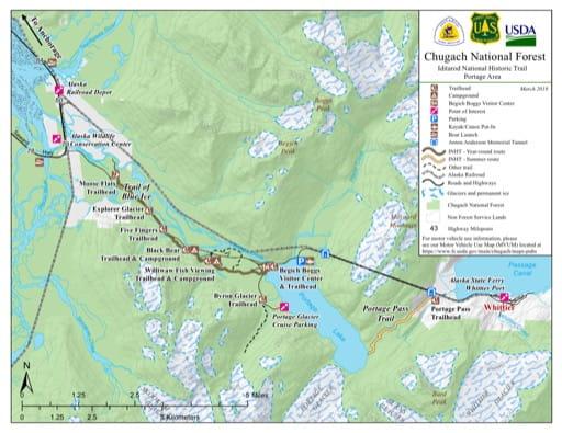 map of Iditarod NHT - Portage