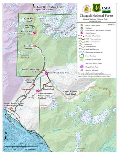map of Iditarod NHT - Girdwood