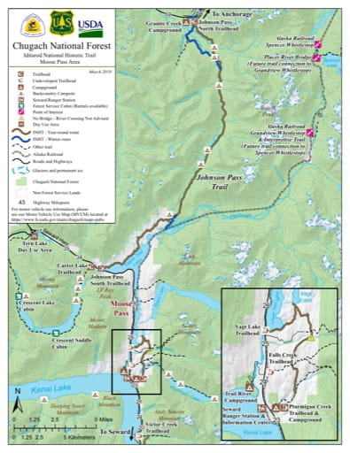 map of Iditarod NHT - Moose Pass