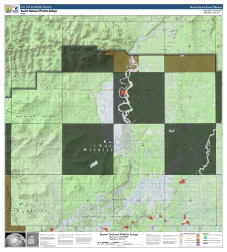 Map sheet KAN-02 for the Kanuti National Wildlife Refuge (NWR) in Alaska. Published by U.S. Fish and Wildlife Service (USFWS).
