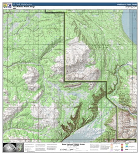 Map sheet KAN-10 for the Kenai National Wildlife Refuge (NWR) in Alaska. Published by U.S. Fish and Wildlife Service (USFWS).