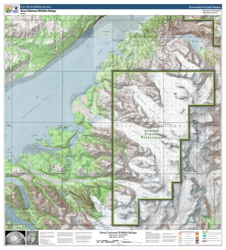 Map sheet KAN-12 for the Kenai National Wildlife Refuge (NWR) in Alaska. Published by U.S. Fish and Wildlife Service (USFWS).