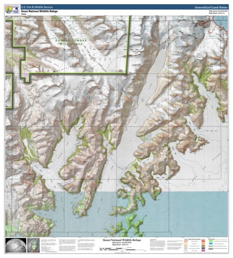 Map sheet KAN-13 for the Kenai National Wildlife Refuge (NWR) in Alaska. Published by U.S. Fish and Wildlife Service (USFWS).