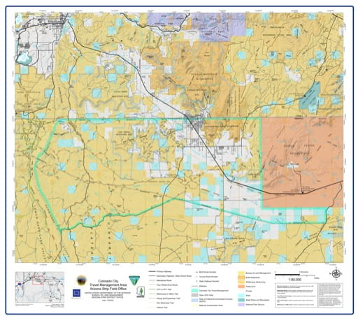 Map of Colorado City Travel Management Area (TMA) in the BLM Arizona Strip Field Office area in Arizona. Published by the Bureau of Landmanagement (BLM).