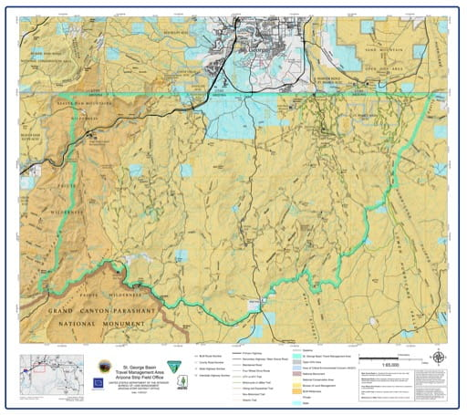 Map of St. George Basin Travel Management Area (TMA) in the BLM Arizona Strip Field Office area in Arizona. Published by the Bureau of Land Management (BLM).
