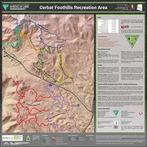 Trails Map of Cerbat Foothills Recreation Area (RA) in the BLM Kingman Field Office area in Arizona. Published by the Bureau of Land Management (BLM).