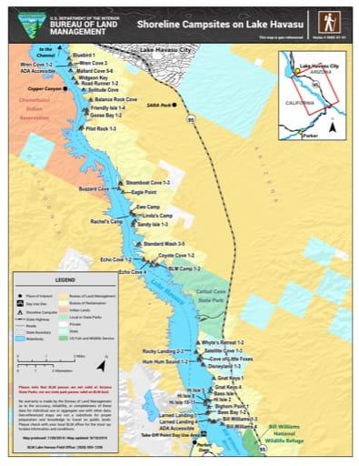 map of Lake Havasu - Shoreline Campsites