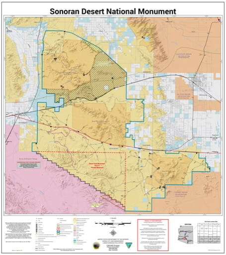 Map of Sonoran Desert National Monument (NM) in the BLM Phoenix District Office area in Arizona. Published by the Bureau of Land Management (BLM).
