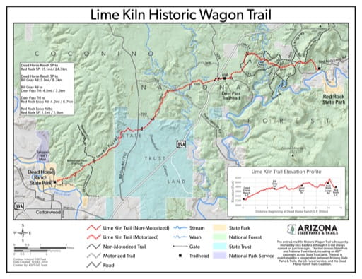 map of Dead Horse Ranch - Lime Kiln Historic Wagon Trail