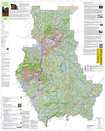 Motor Vehicle Travel Map (MVTM) of the Coconino National Forest (NF) in Arizona. Published by the U.S. Forest Service (USFS).