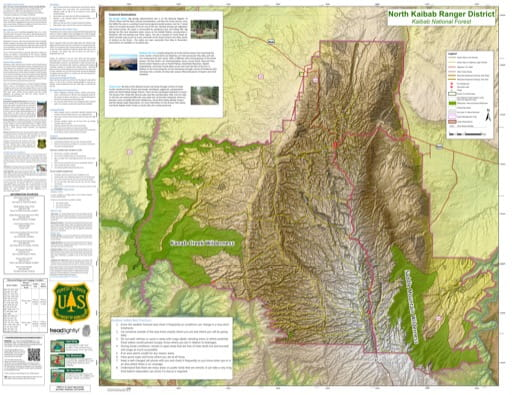 Motor Vehicle Travel Map (MVTM) of North Kaibab Ranger District in Kaibab National Forest (NF) in Arizona. Published by the U.S. Forest Service (USFS).