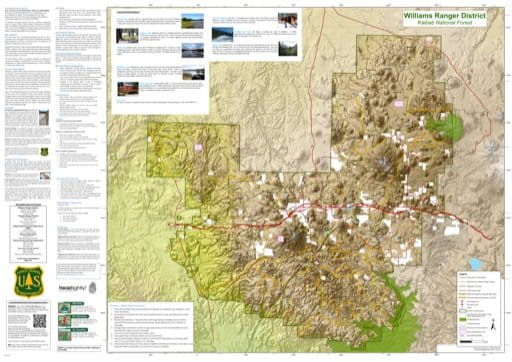 Motor Vehicle Travel Map (MVTM) of Williams Ranger District in Kaibab National Forest (NF) in Arizona. Published by the U.S. Forest Service (USFS).