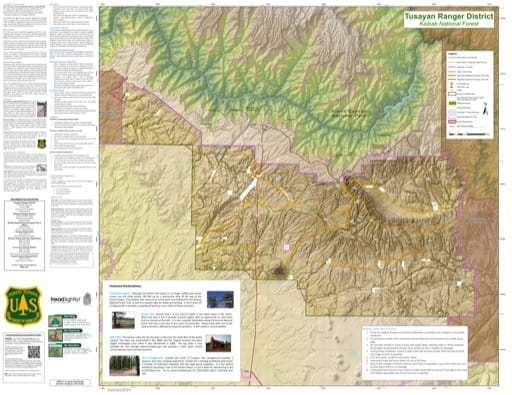 Motor Vehicle Travel Map (MVTM) of Tusayan Ranger District in Kaibab National Forest (NF) in Arizona. Published by the U.S. Forest Service (USFS).