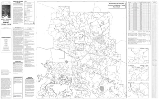 Motor Vehicle Use Map (MVUM) of the North Half of Coconino National Forest (NF). Published by the U.S. Forest Service (USFS).