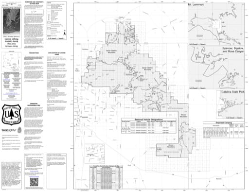 Motor Vehicle Use Map (MVUM) of Santa Catalina Ranger District in Coronado National Forest (NF). Published by the U.S. Forest Service (USFS).