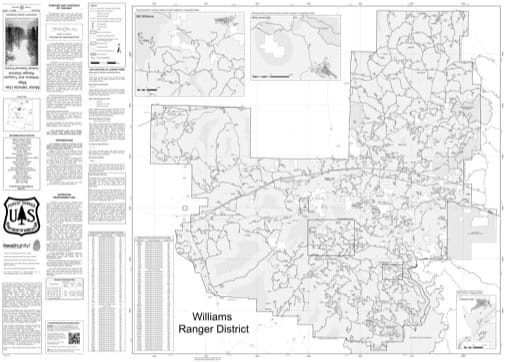 Motor Vehicle Use Map (MVUM) of Williams Ranger District in Kaibab National Forest (NF). Published by the U.S. Forest Service (USFS).