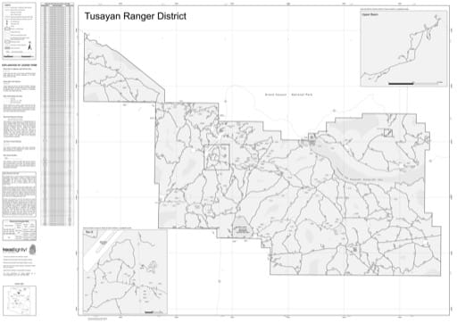 Motor Vehicle Use Map (MVUM) of Tusayan Ranger District in Kaibab National Forest (NF). Published by the U.S. Forest Service (USFS).