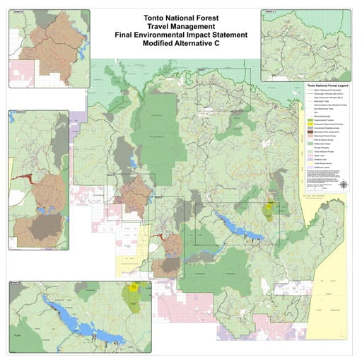 Motor Vehicle Use Map (MVUM) (Modified Alternative C) of Tonto National Forest (NF). Published by the U.S. Forest Service (USFS).