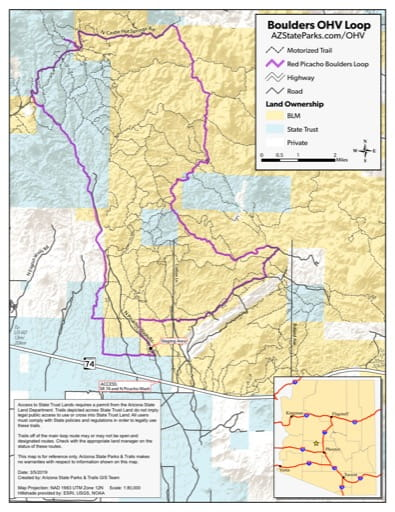 Map of Boulders OHV Loop (Off-Highway Vehicle) near Morristown, Arizona. Published by Arizona State Parks & Trails.
