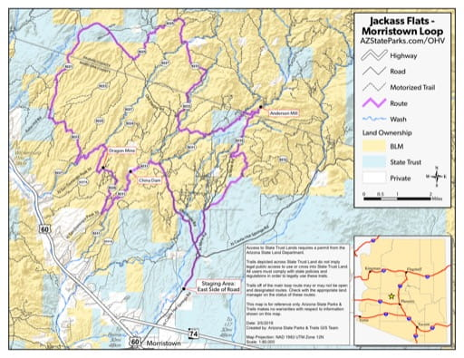 Map of Jackass Flats Off-Highway Vehicle area (OHV) near Morristown, Arizona. Published by Arizona State Parks & Trails.