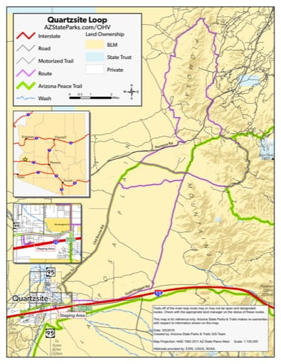 Map of Quartzsite Route Off-Highway Vehicle area (OHV) near Quartzsite, Arizona. Published by Arizona State Parks & Trails.