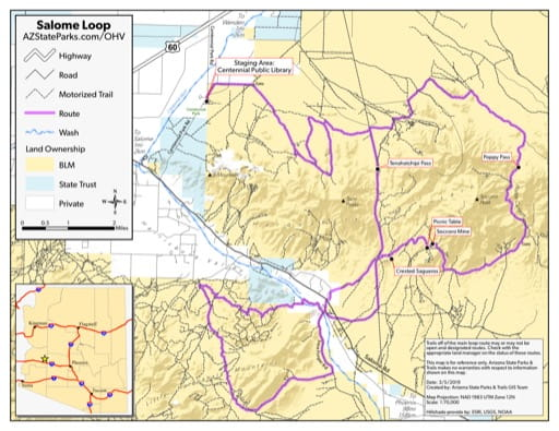Map of Salome Loop Off-Highway Vehicle area (OHV) near Salome, Arizona in the Sonoran Desert. Published by Arizona State Parks & Trails.