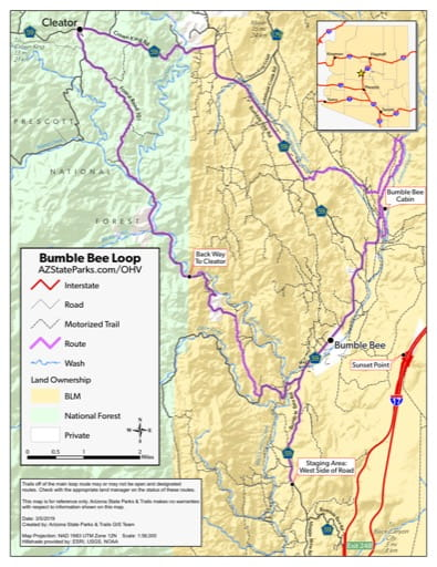 Map of Bumble Bee Route Off-Highway Vehicle area (OHV) near the historic ghost town of Cleator, Arizona. Published by Arizona State Parks & Trails.