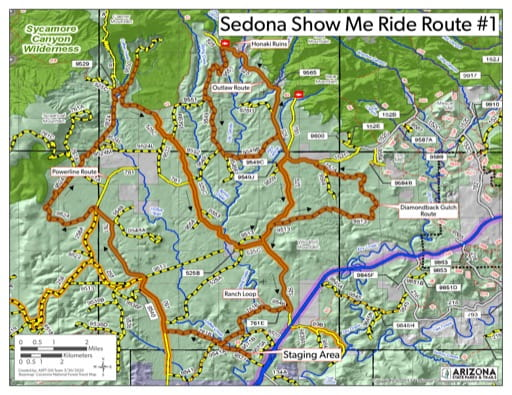 Map of Sedona Route 1 OHV trail (Off-Highway Vehicle) with stops at the Honaki Ruins, Robber's Roost and an exciting trip down the powerline route. Published by Arizona State Parks & Trails.